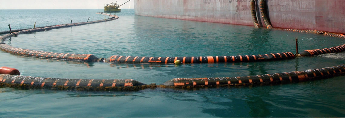 Many floating dredging hoses are connected on the seawater.